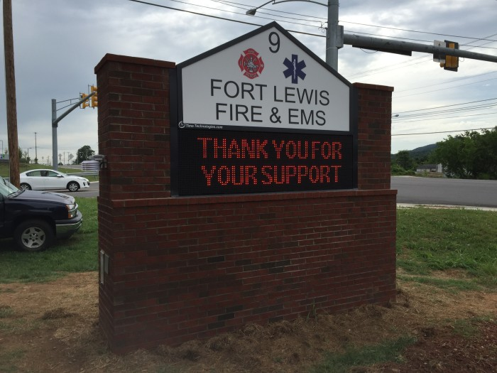 New LED sign installed at Fort Lewis Fire and EMS Station in the Glenvar area of Roanoke County, VA.  The display has wireless communications.
