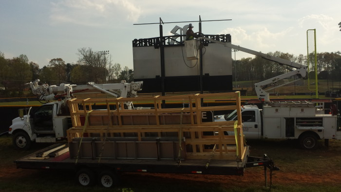 Fair-Play Baseball Scoreboard Installation with Time Technologies, Inc. installation staff and equipment