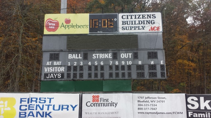 Bluefield's 25 year old Fair-Play Scoreboard (Still functional)