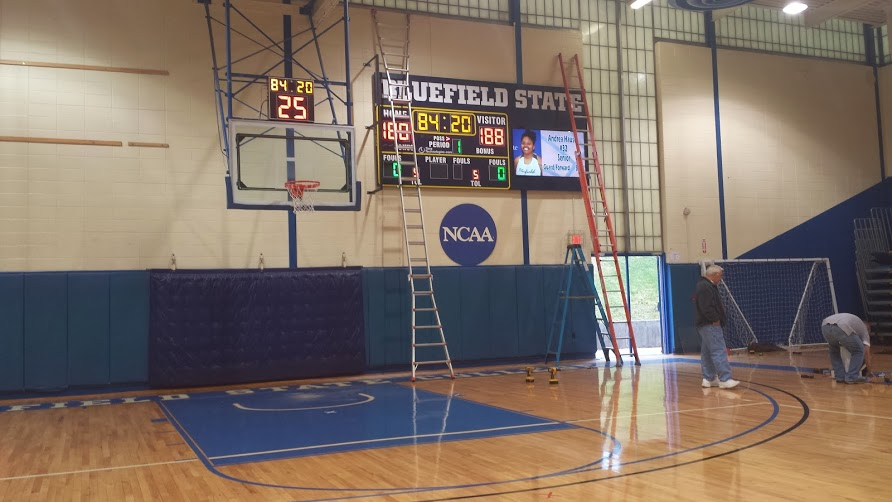 Bluefield State College Basketball Scoreboard Installed January, 2013.