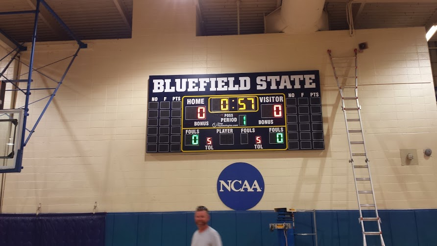 Bluefield State College Basketball Scoreboard Opposite Side Installation