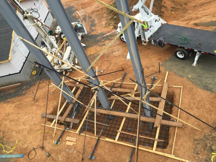 Steel is set per engineered design and ready for the (9) concrete trucks.