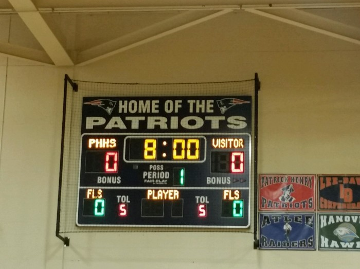 New Fair-Play Basketball Scoreboard with Electronic team names and captions.  Proudly sold and installed by Time Technologies, Inc. in October of 2015.
