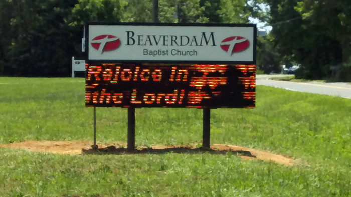 Beaver Dam Baptist Church Adaptive Microsystems Amber LED Sign